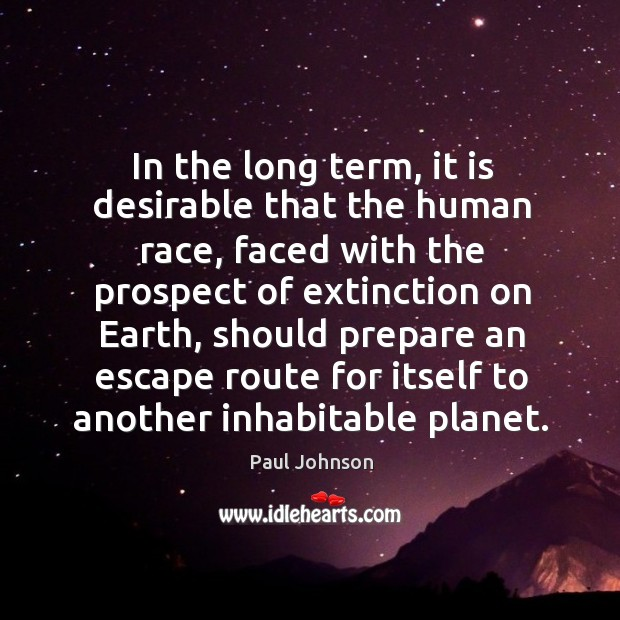 In the long term, it is desirable that the human race, faced Image