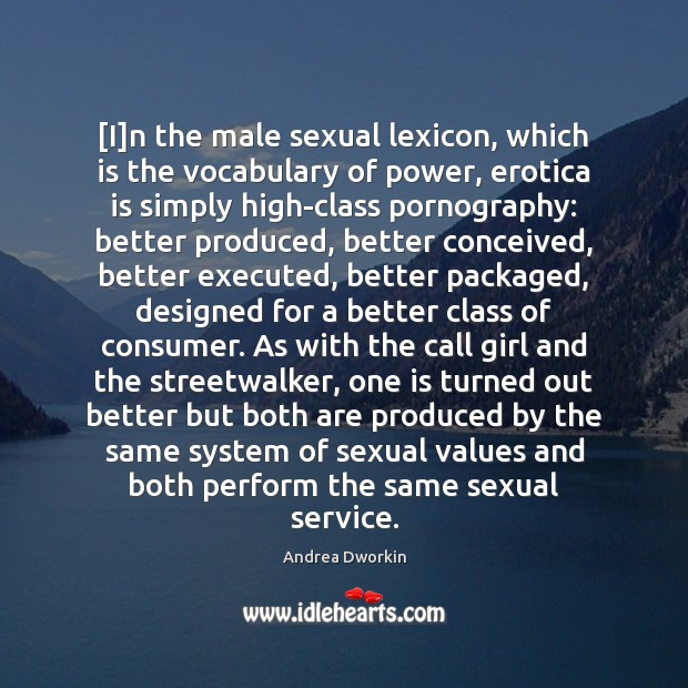 [I]n the male sexual lexicon, which is the vocabulary of power, Andrea Dworkin Picture Quote