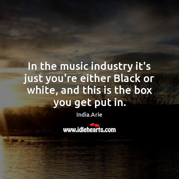 In the music industry it's just you're either Black or white, and India.Arie Picture Quote