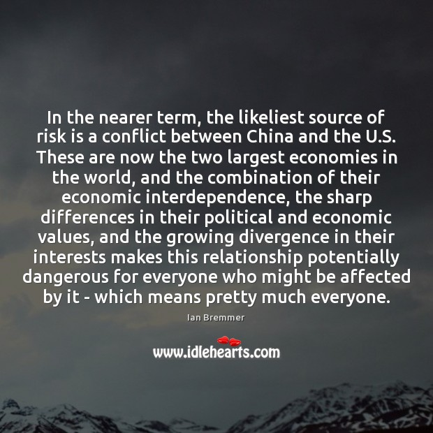 In the nearer term, the likeliest source of risk is a conflict Image
