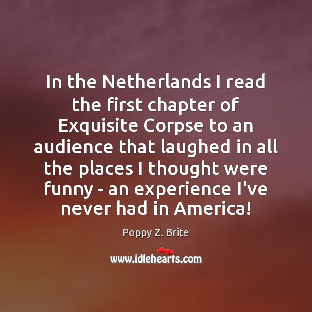 In the Netherlands I read the first chapter of Exquisite Corpse to Image