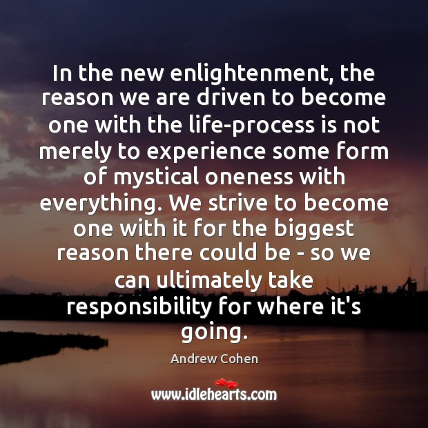 Image, In the new enlightenment, the reason we are driven to become one