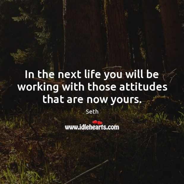 In the next life you will be working with those attitudes that are now yours. Seth Picture Quote