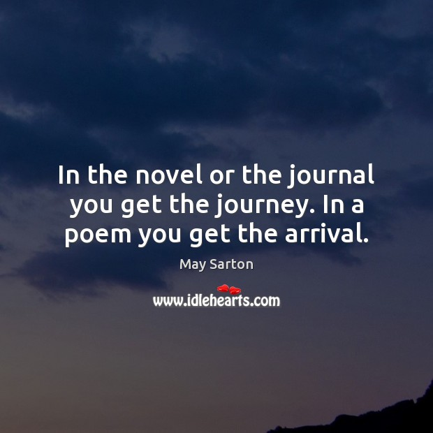 Image, In the novel or the journal you get the journey. In a poem you get the arrival.