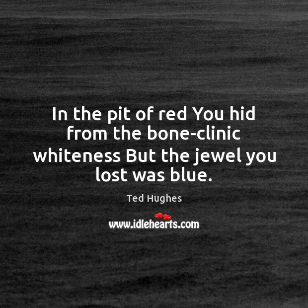 In the pit of red You hid from the bone-clinic whiteness But the jewel you lost was blue. Ted Hughes Picture Quote