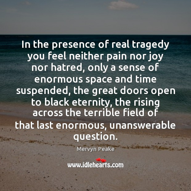 In the presence of real tragedy you feel neither pain nor joy Mervyn Peake Picture Quote