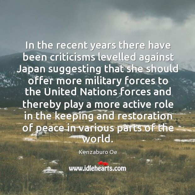 In the recent years there have been criticisms levelled against japan suggesting that she Image