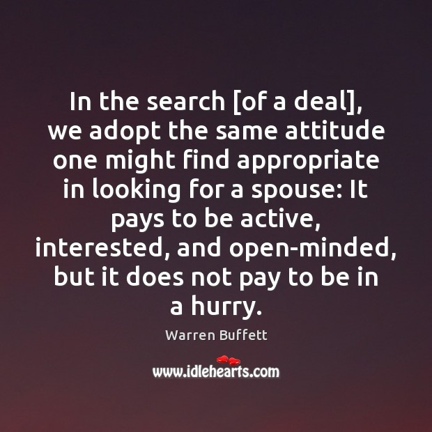 Image, In the search [of a deal], we adopt the same attitude one