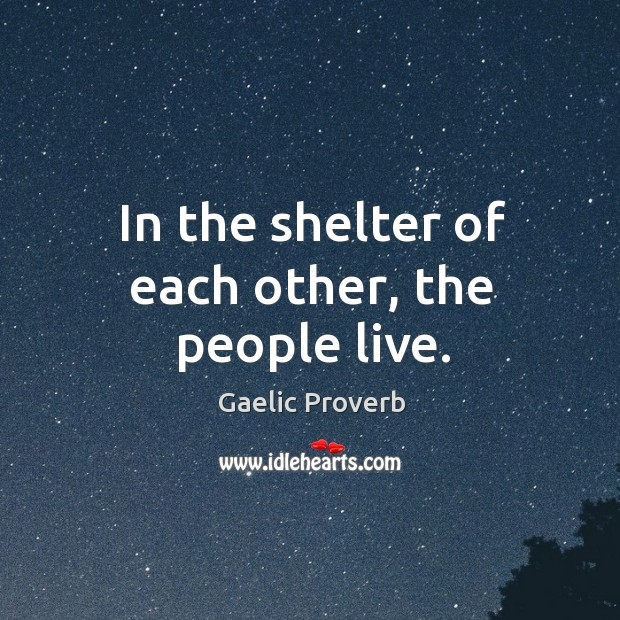 In the shelter of each other, the people live. Gaelic Proverbs Image