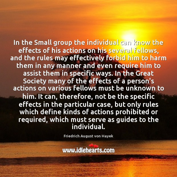 In the Small group the individual can know the effects of his Friedrich August von Hayek Picture Quote