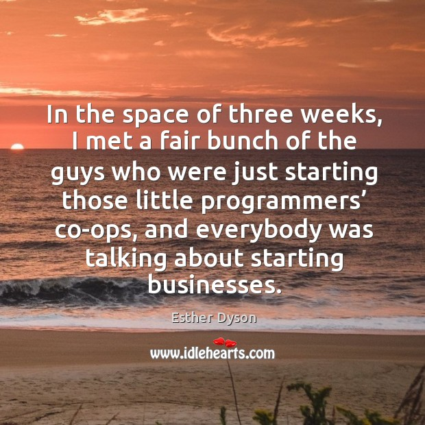 In the space of three weeks, I met a fair bunch of the guys who were just starting those little programmers' co-ops Esther Dyson Picture Quote