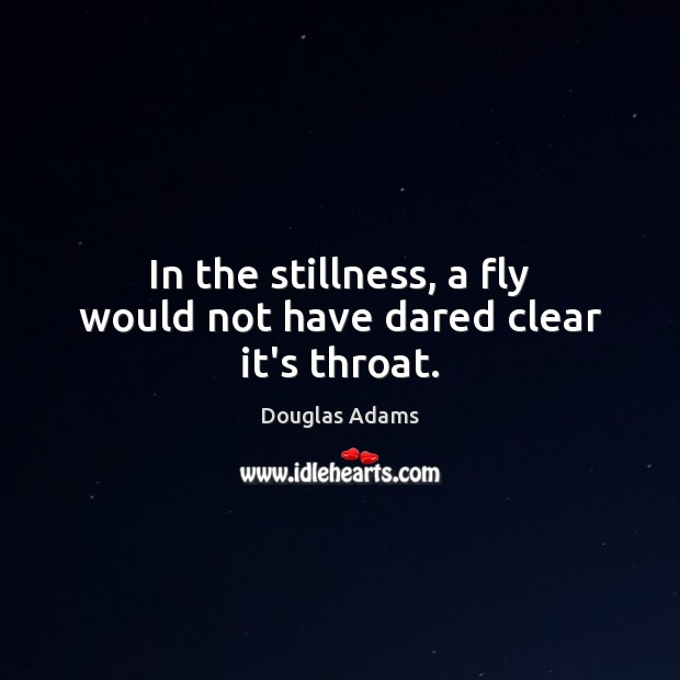 In the stillness, a fly would not have dared clear it's throat. Douglas Adams Picture Quote
