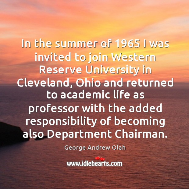 Image, In the summer of 1965 I was invited to join western reserve university in cleveland