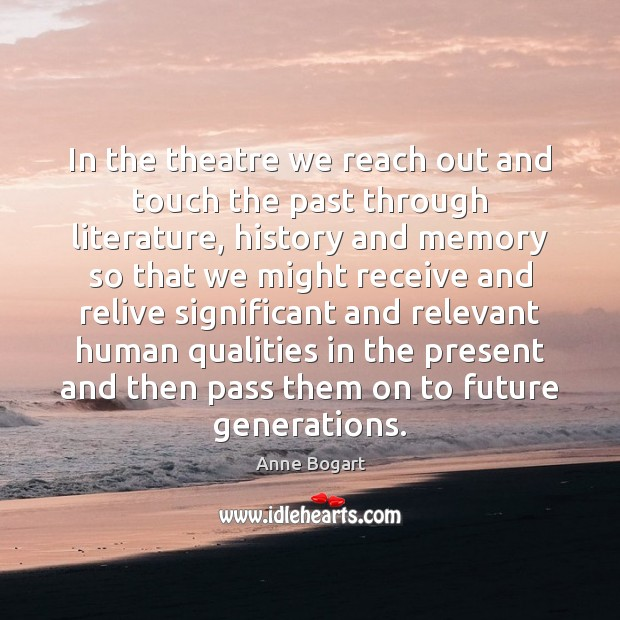 Image, In the theatre we reach out and touch the past through literature,
