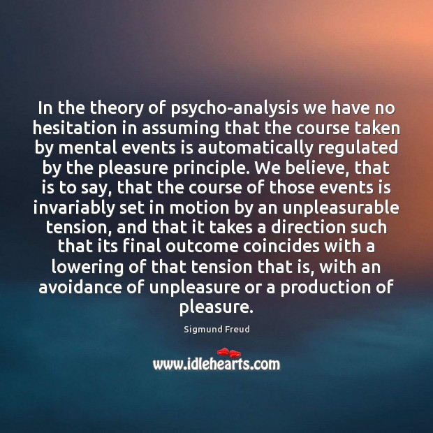 In the theory of psycho-analysis we have no hesitation in assuming that Sigmund Freud Picture Quote