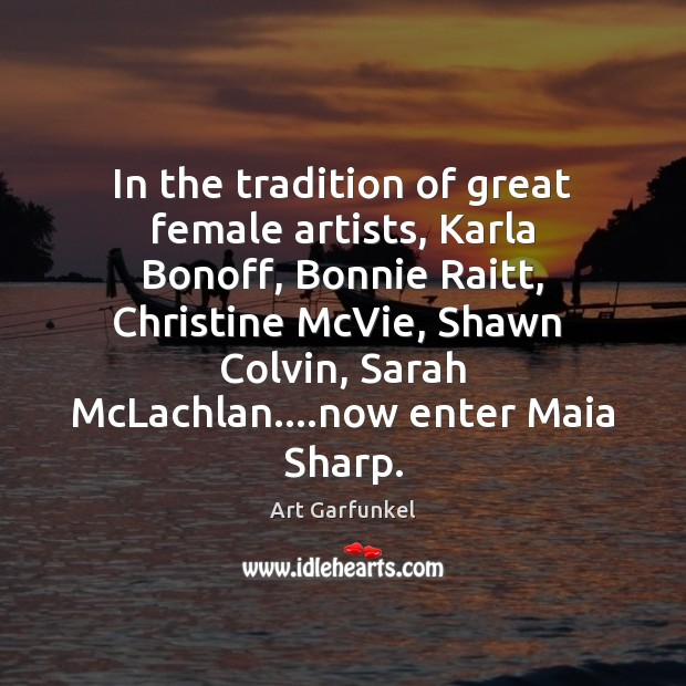 In the tradition of great female artists, Karla Bonoff, Bonnie Raitt, Christine Image