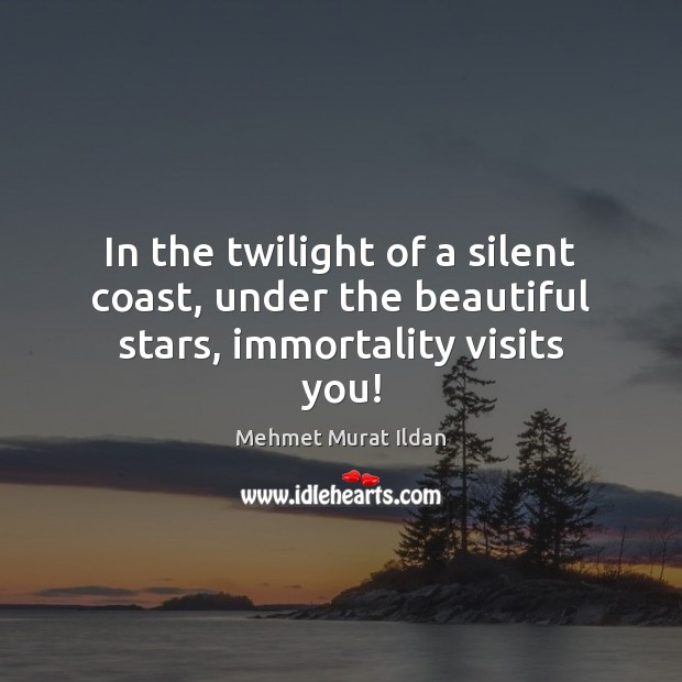 Image, In the twilight of a silent coast, under the beautiful stars, immortality visits you!