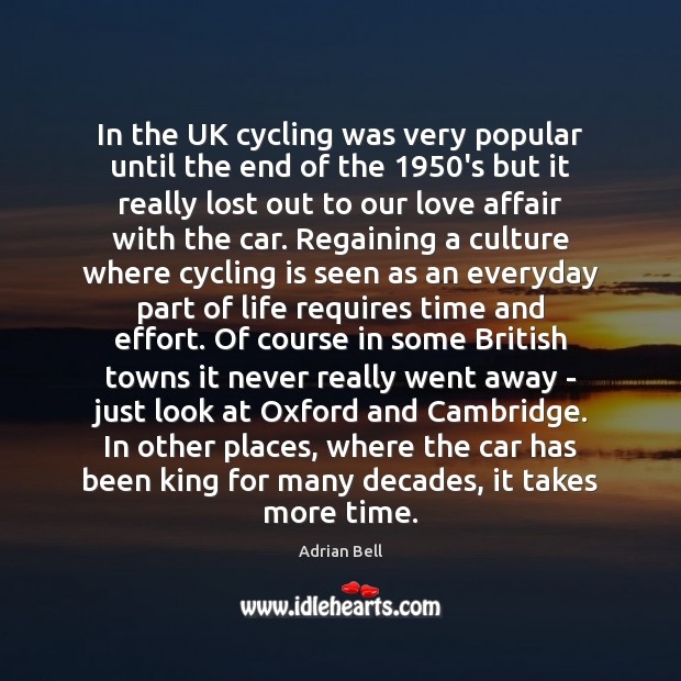 In the UK cycling was very popular until the end of the 1950 Image