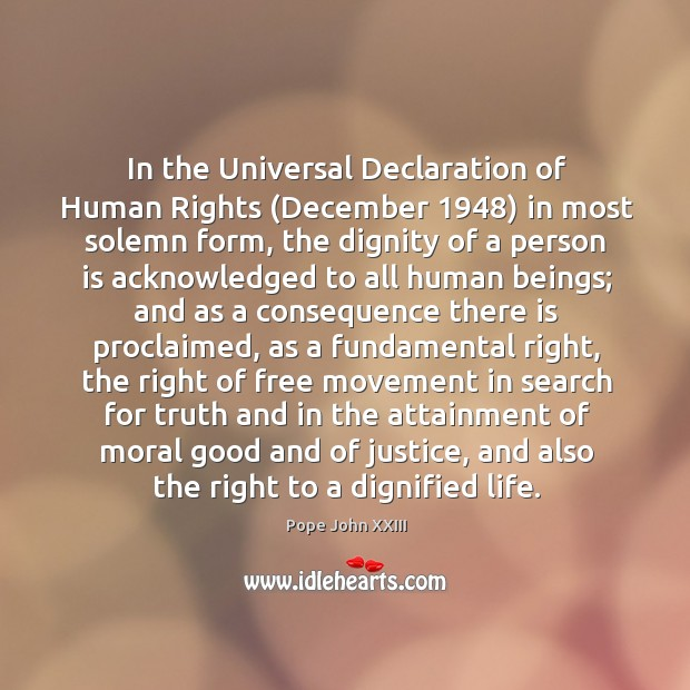 In the Universal Declaration of Human Rights (December 1948) in most solemn form, Image