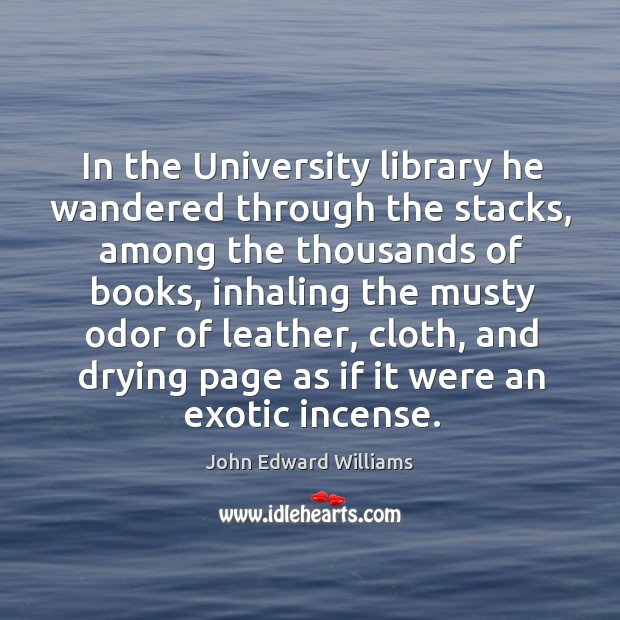 In the University library he wandered through the stacks, among the thousands Image