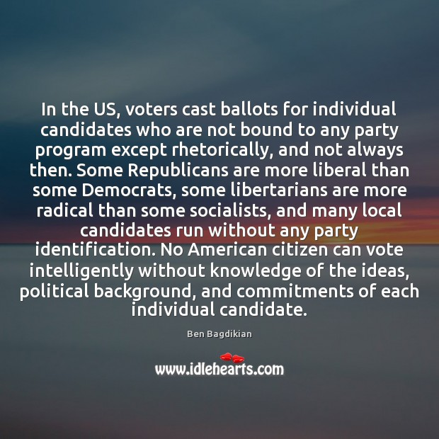 Image, In the US, voters cast ballots for individual candidates who are not