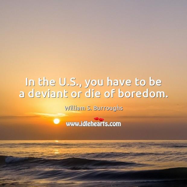 In the U.S., you have to be a deviant or die of boredom. Image