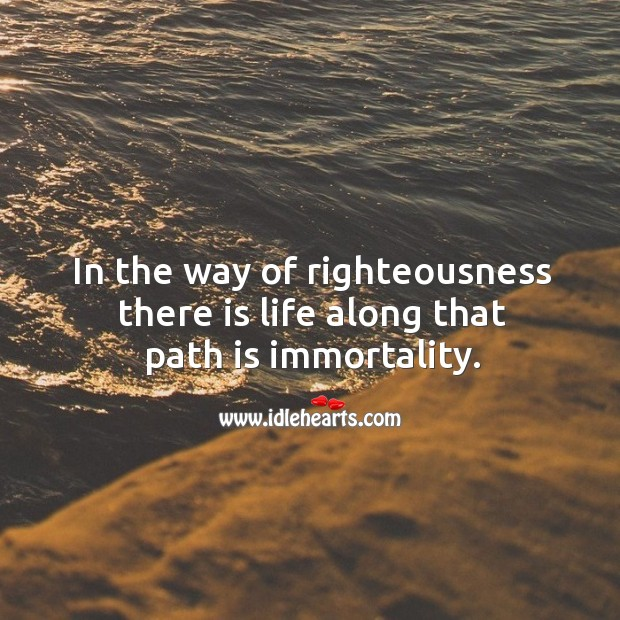 In the way of righteousness there is life along that path is immortality. Image