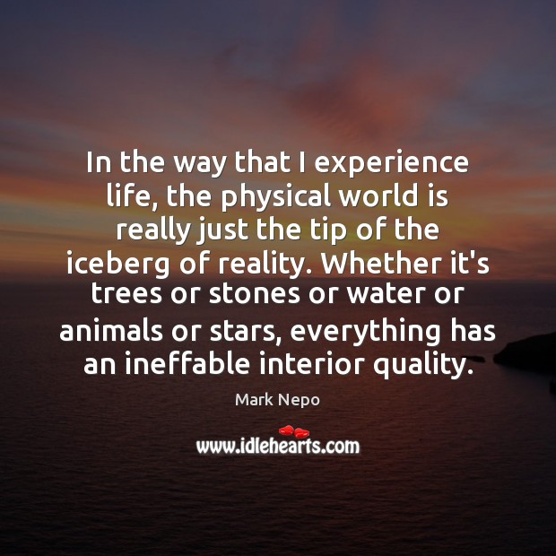 In the way that I experience life, the physical world is really Mark Nepo Picture Quote