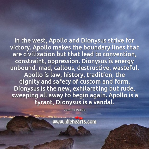 Image, In the west, Apollo and Dionysus strive for victory. Apollo makes the