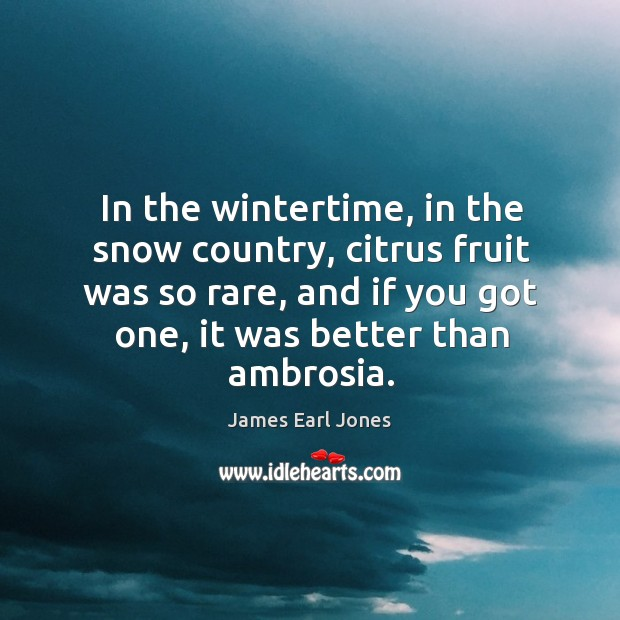 In the wintertime, in the snow country, citrus fruit was so rare, and if you got one, it was better than ambrosia. James Earl Jones Picture Quote