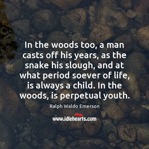 Image, In the woods too, a man casts off his years, as the