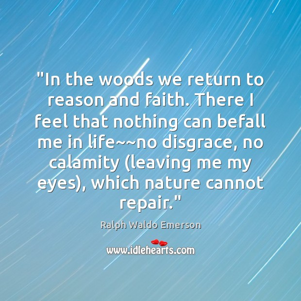 """Image, """"In the woods we return to reason and faith. There I feel"""