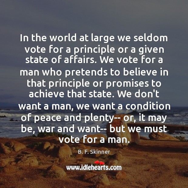 Image, In the world at large we seldom vote for a principle or