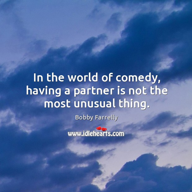 In the world of comedy, having a partner is not the most unusual thing. Image