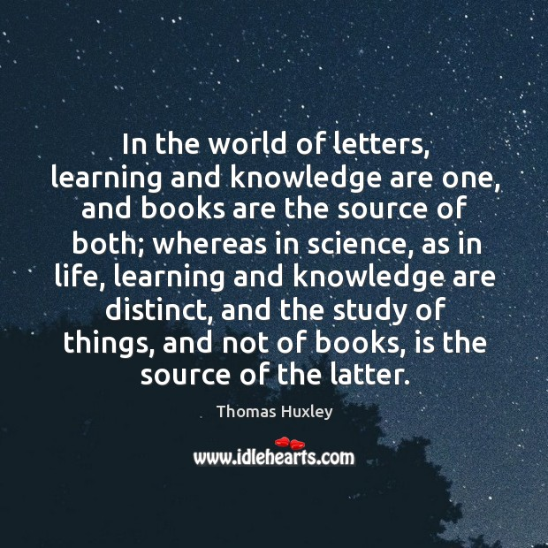 Image, In the world of letters, learning and knowledge are one, and books