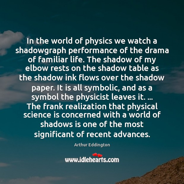 In the world of physics we watch a shadowgraph performance of the Arthur Eddington Picture Quote