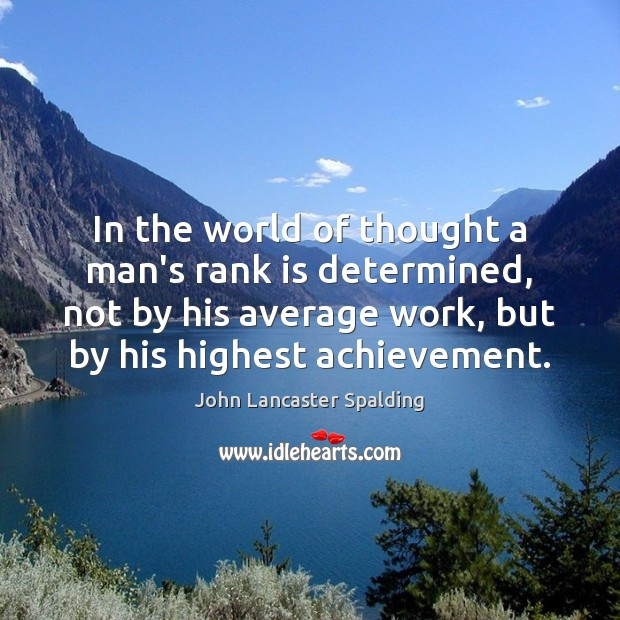 In the world of thought a man's rank is determined, not by John Lancaster Spalding Picture Quote