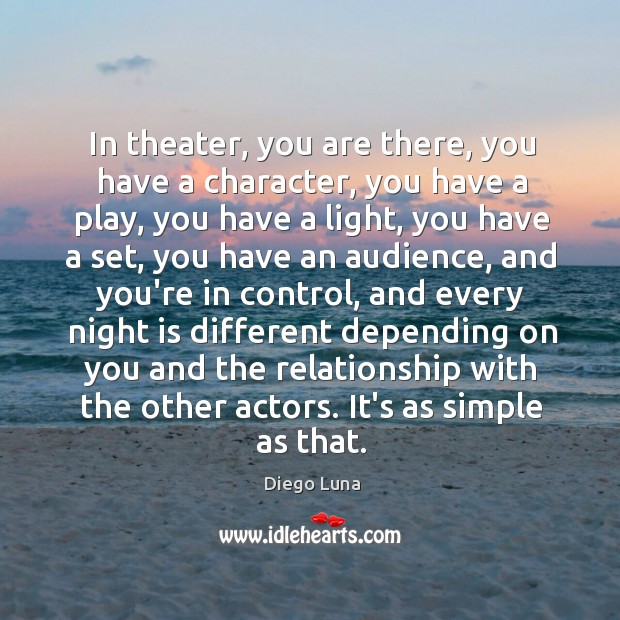 In theater, you are there, you have a character, you have a Image