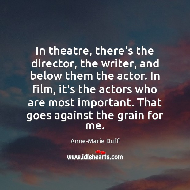 Image, In theatre, there's the director, the writer, and below them the actor.