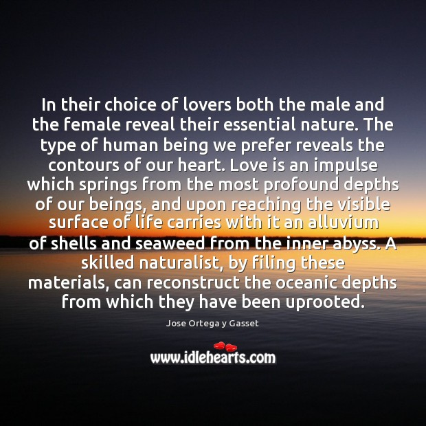 In their choice of lovers both the male and the female reveal Jose Ortega y Gasset Picture Quote