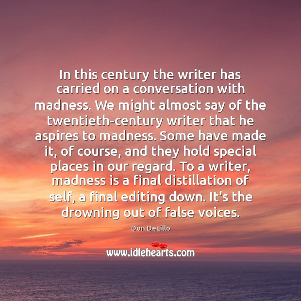 In this century the writer has carried on a conversation with madness. Don DeLillo Picture Quote