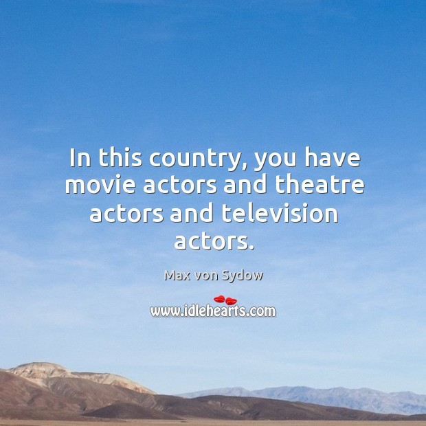 In this country, you have movie actors and theatre actors and television actors. Image