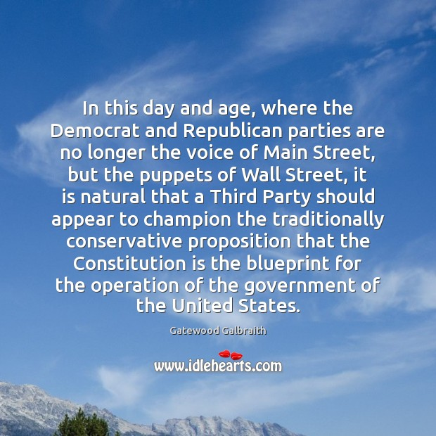 In this day and age, where the Democrat and Republican parties are Image