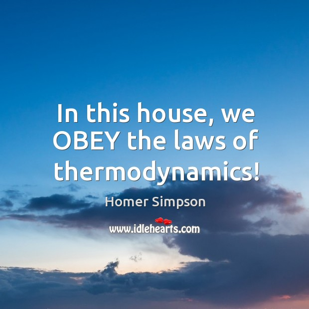 In this house, we obey the laws of thermodynamics! Image