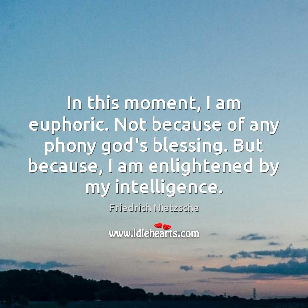 In this moment, I am euphoric. Not because of any phony God's Friedrich Nietzsche Picture Quote