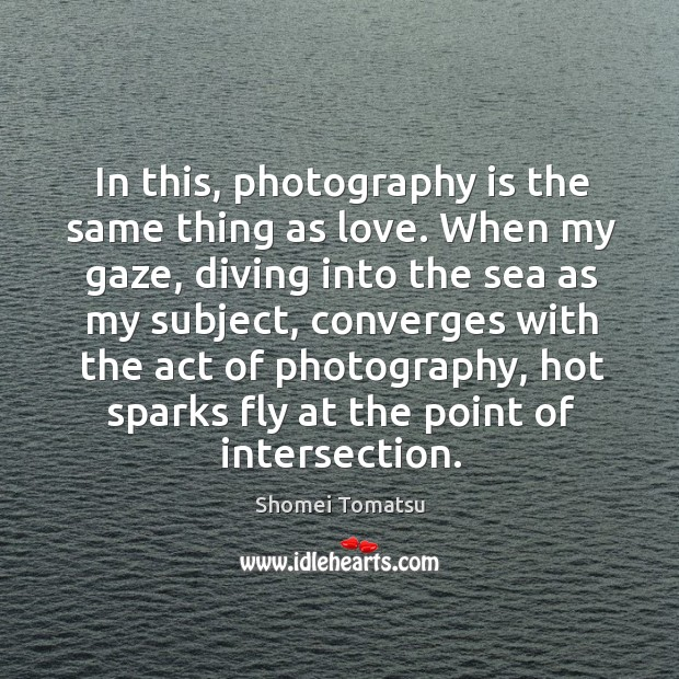 In this, photography is the same thing as love. When my gaze, Image