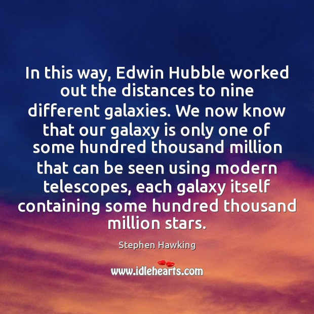 In this way, Edwin Hubble worked out the distances to nine different Stephen Hawking Picture Quote
