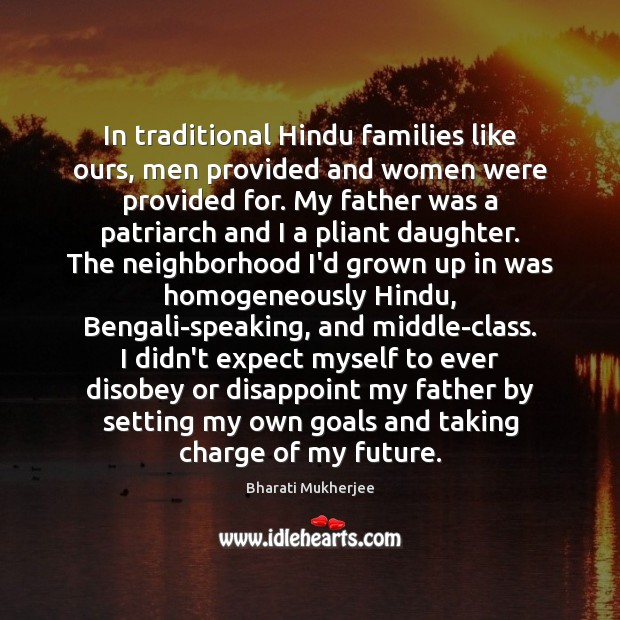 Image, In traditional Hindu families like ours, men provided and women were provided