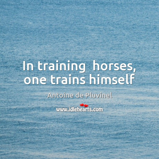Image, In training  horses, one trains himself