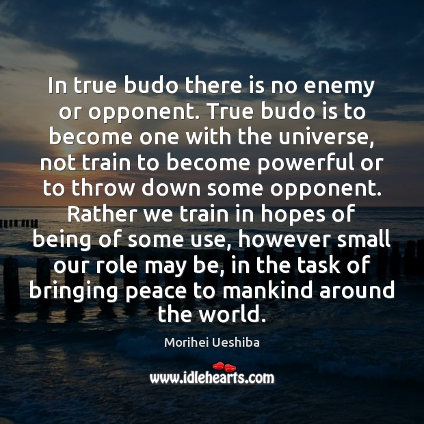 In true budo there is no enemy or opponent. True budo is Morihei Ueshiba Picture Quote